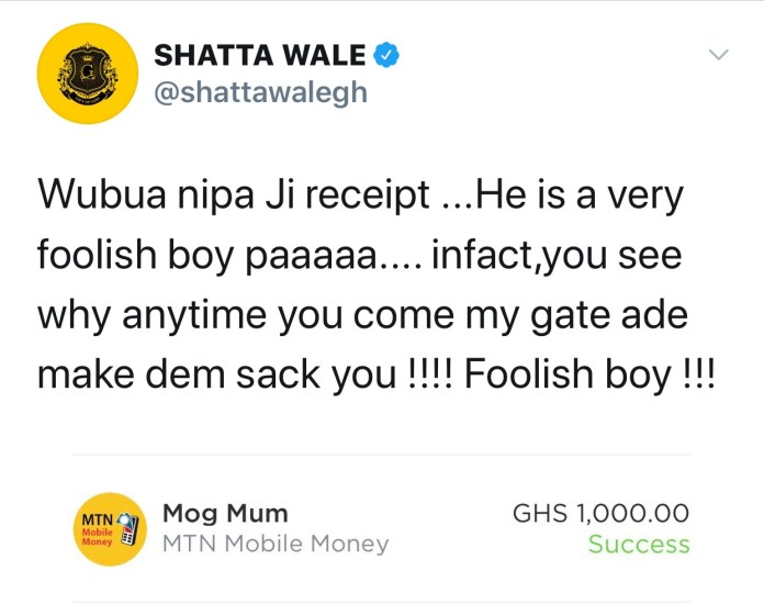 img 4569 - Shatta Wale Shares  Screenshot Of The Amount He Paid MOG Beatz For His Service On Reign Album