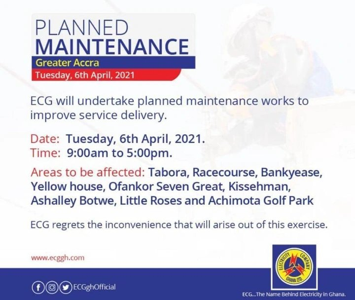 """newslite1617712967885 - Just In: ECG Announces """"Dumsor"""" Schedule For Accra; Check Out List Of Affected Areas"""