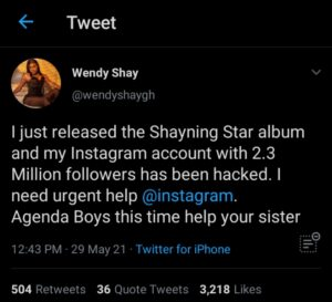 Screenshot 20210530 155102 1 300x273 - Wendy Shay's Instagram Account Hacked After Releasing Her Latest Album On Friday