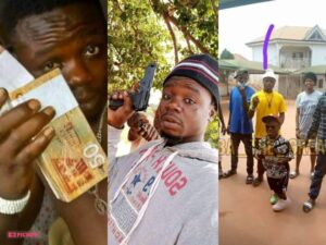 Bandle and thief 300x225 - Watch: Shatta Bandle Spotted Chilling With One Of Them Men Seen With Guns In Viral Video