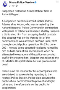 Police statement on armed robber shot dead 203x300 - Police Shoots A Notorious Robber After Trying To Escape From Custody
