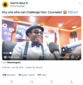 Shatta post 292x300 - Shatta Wale Praises Counselor Lutterodt For Jamming To His 'Shw3' Song (Video)