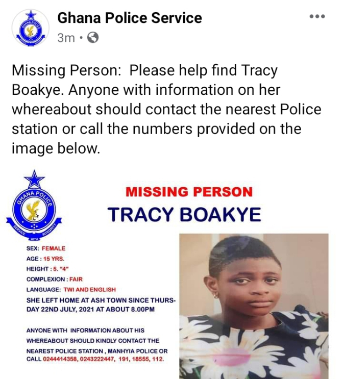 Screenshot 20210726 152849 1 - Tracy Boakye reported missing by Ghana Police