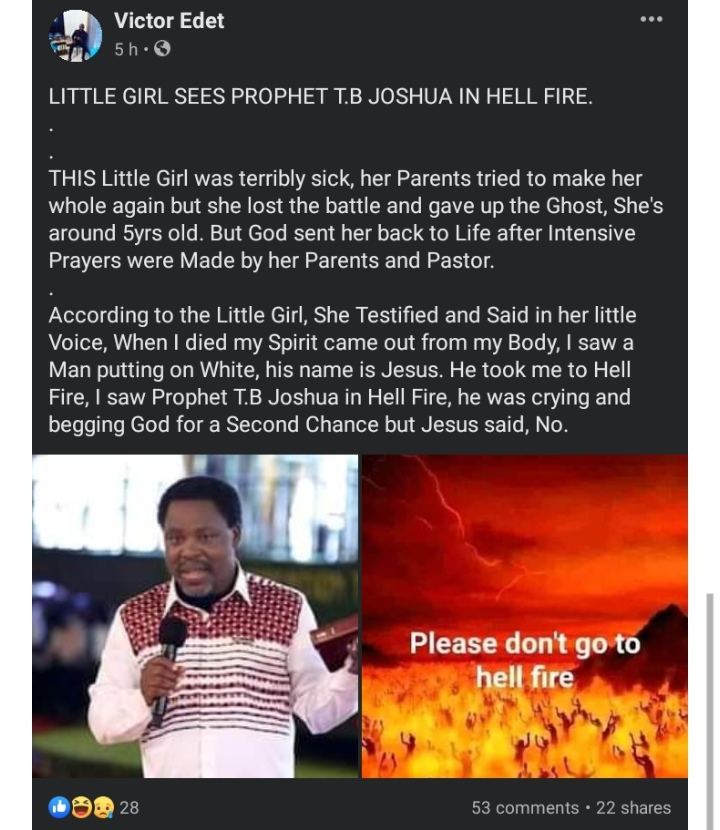 Screenshot 20210728 174354 - SHOCNING:Little girl who allegedly died and came back to life reveals where she saw late TB Joshua