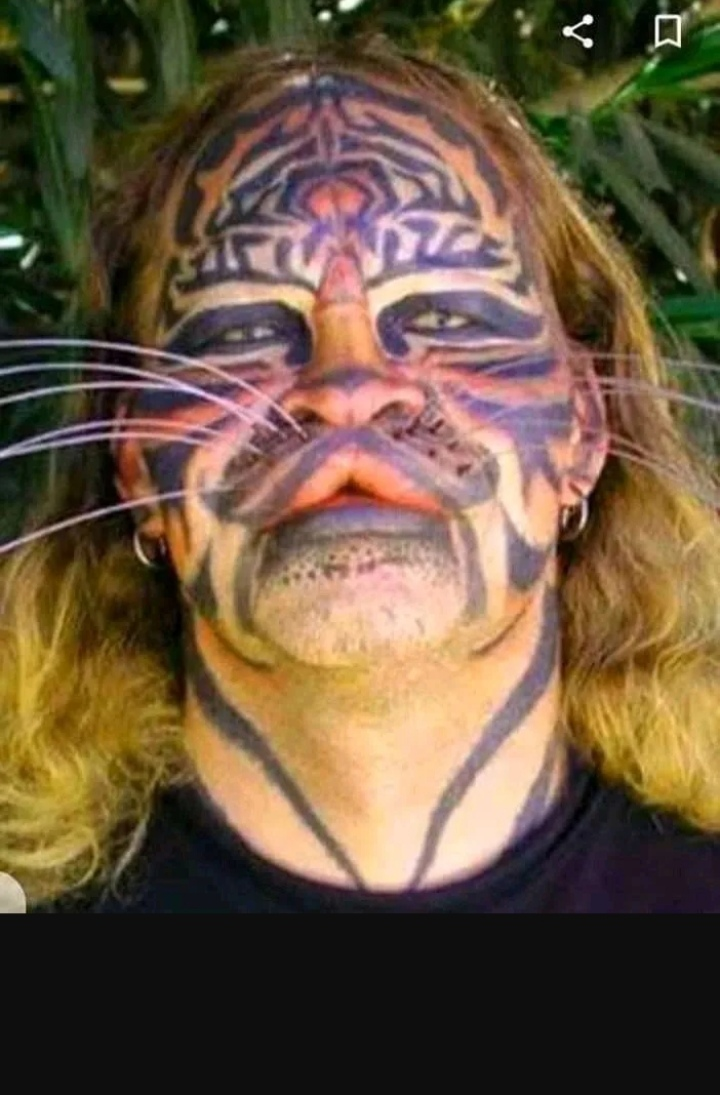 Screenshot 20210730 033244 - Meet Denis Avner, the man who spent millions of dollars on his body to look like a tiger – Photos